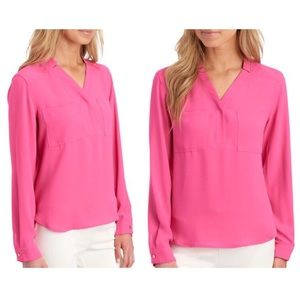 NINE WEST Notched Collar Long Sleeve Pink Blouse
